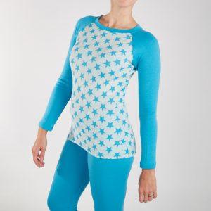 Dámske termo tričko - tyrkys hviezdy