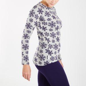 Dámske termo tričko - fialové vločky