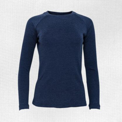 Dámske tričko z merino vlny hrubé Lehota - modrý melír 250g