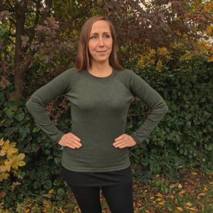 Teplé merino trićko pre ženy olivové