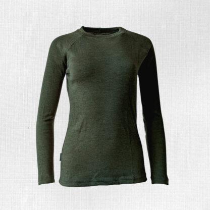 Merino tričko dámske dlhý rukáv olivová