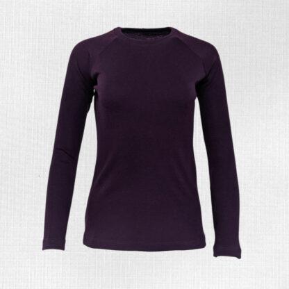 Hrubé tričko z merino vlny pre dámy fialové