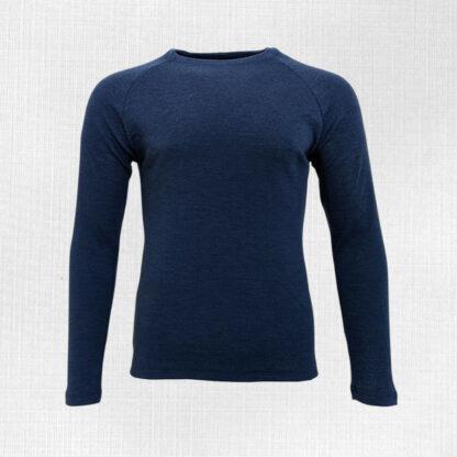 Hrubšie pánske merino tričko Liesek - modrý melír 250g