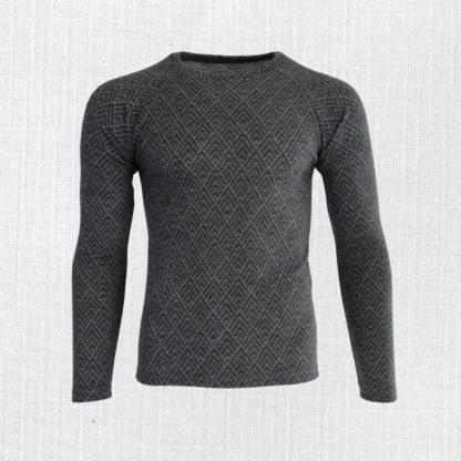 Pánske merino tričko Kunerad geo na tmavosivej