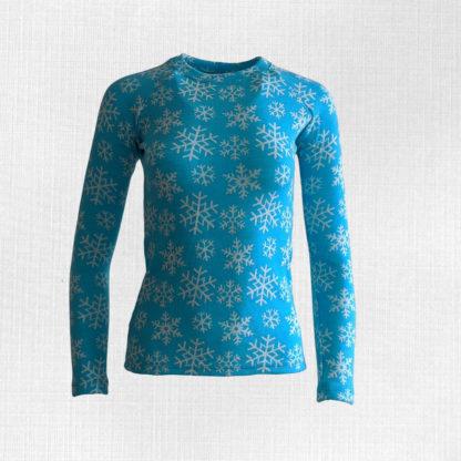 Dámske merino tričko Snežnica vločky na tyrkysovej modrej