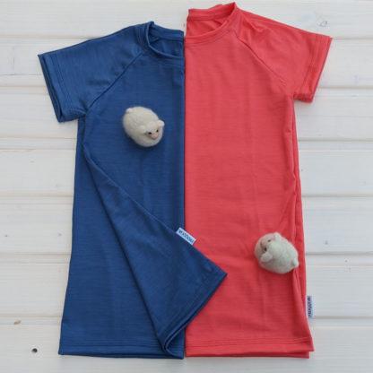 Detské merino tričko Gemer - oceľová modrá - lososová