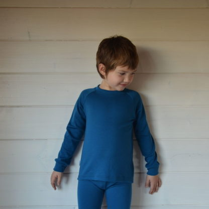 Detské merino tričko Hrádok petrolejová modrá