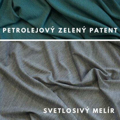 100% merino 200g svetlosivý melír - petrolejovo zelený patent