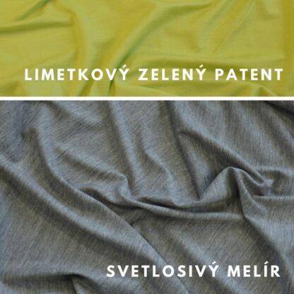 100% merino 200g svetlosivý melír - limetkový zelený patent