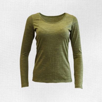 Dámske merino tričko Litava - zelený melír