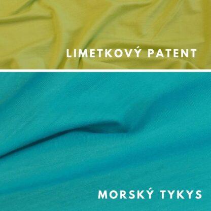 Merino kombinácia morský tyrkys - limetkový zelený patent