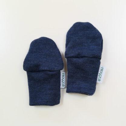 Rukavičky z merino vlny pre bábätká - modrý melír