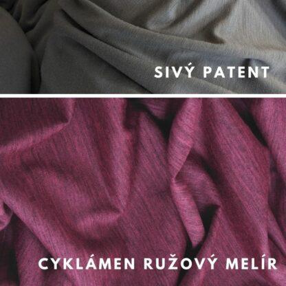 Merino kombinácia cyklámen ružový melír - sivý patent