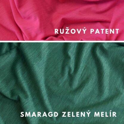 Merino kombinácia smaragd zelený melír - ružový patent