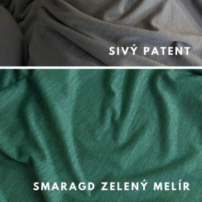 Merino kombinácia smaragd zelený melír - sivý patent