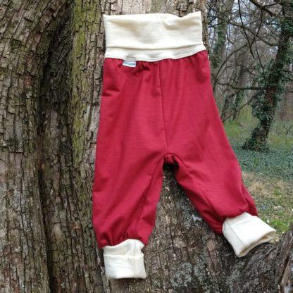detské merino tepláky červené
