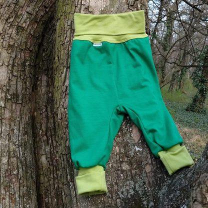 detské merino tepláky zelené