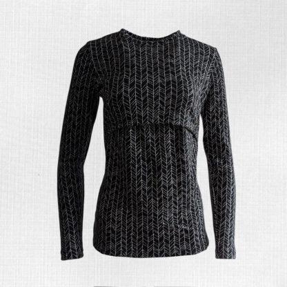 Dámske merino tričko Kálnica - vetvičky na čiernej