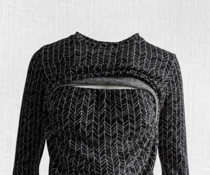 Dámske merino tričko Kálnica - vetvičky na čiernej detail