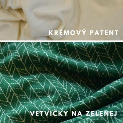 merino vetvičky na zelenej - krémové patenty