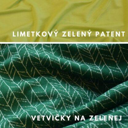 merino vetvičky na zelenej - limetkové zelené patenty