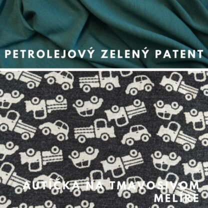 merino autíčka na tmavosivom melíre - petrol zelené patenty