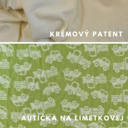 merino autíčka na limetkovej zelenej - krémové patenty