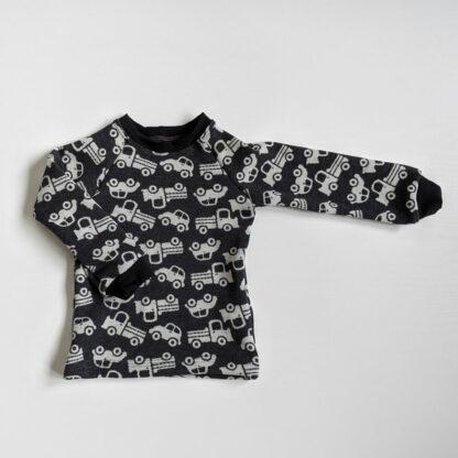 Detské merino tričko Volovec - autíčka na tmavosivej - čierne patenty