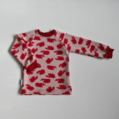 Detské teplé tričko s merino vlnou Volovec - červení ježkovia červené patenty