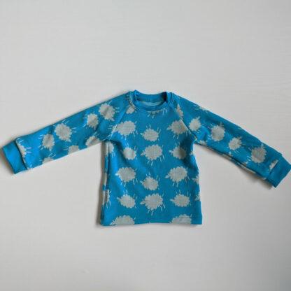 Detské merino tričko Volovec - ovečky na tyrkysovej - tyrkysové patenty