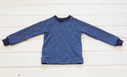 Detské merino tričko Volovec vzor geo modré