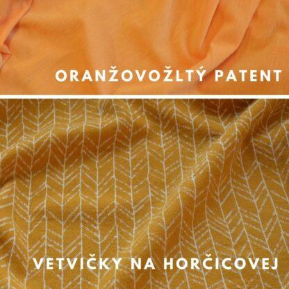 vetvičky na horčicovej - oranžovožlté patenty
