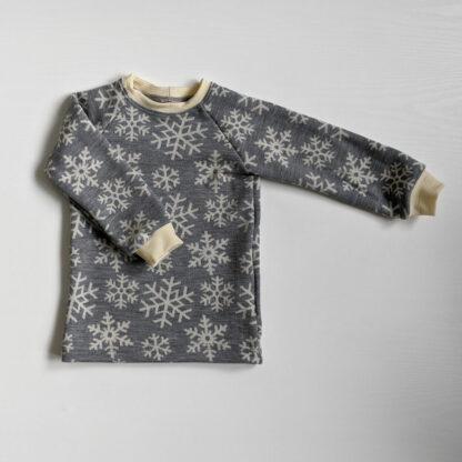 Merino tričko Volovec pre deti - vločky na svetlosivom melíre -