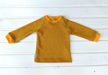 Detské merino tričko Volovec vzor geo horčica