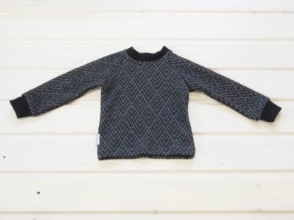 Detské merino tričko Volovec vzor geo čierne