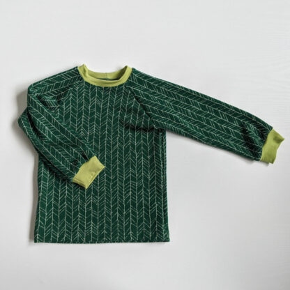 Detské merino tričko Volovec - vetvičky na zelenej - limetkové patenty