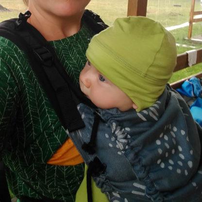Limetková čiapka z merina pre deti