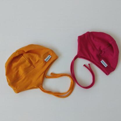 Detská elastická merino čiapka Báb - oranžovožltá a sýtoružová