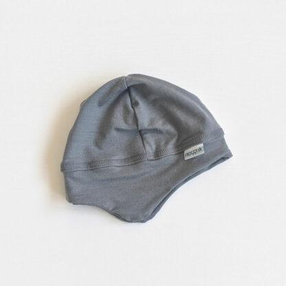 Elastická čiapka pre deti z merino vlny - svetlosivá