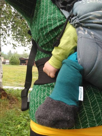Detské merino capačky petrolejovo zelený patent
