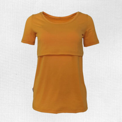Dámske merino tričko na dojčenie Krížna - oranžovožltá
