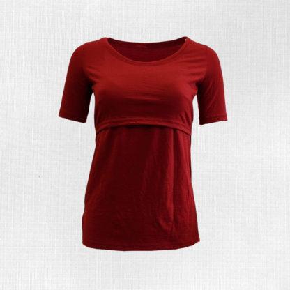 Merino tričko na dojčenie Krížna - červená