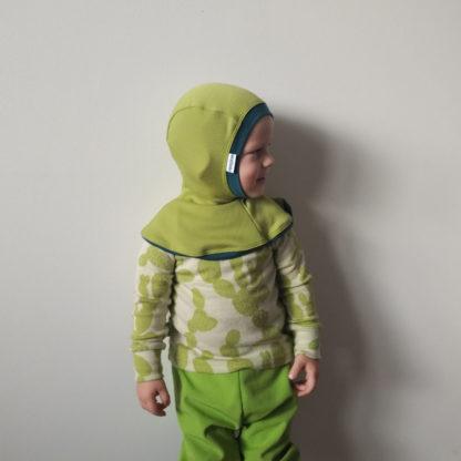 Detská merino kukla Blatné limetková zelená s petrol zeleným lemom