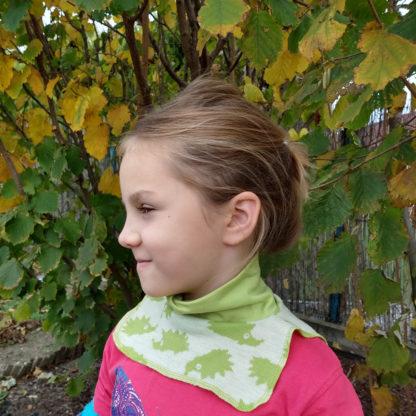 Detský merino nákrčník zelený ježko