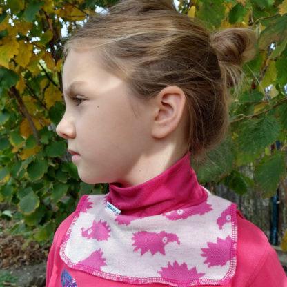 Detský nákrčník z merino vlny ružový ježko