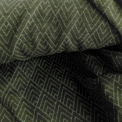 Merino 100% - vzor geo na olivovo zelenom melíre - 210g