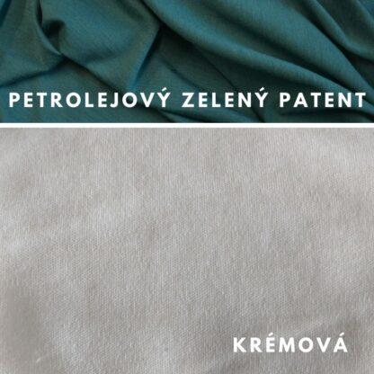 merino Natural krémová - petrolejový zelený patent