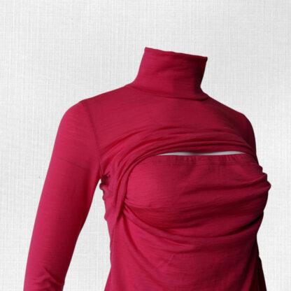 Dámske merino tričko na dojčenie Borová - sýtoružová