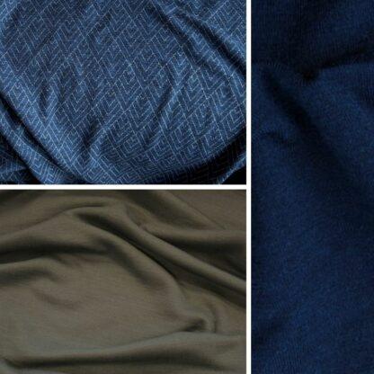 merino geo na modrej │oceľová sivá – tmavomodrý patent