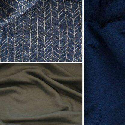merino vetvičky na modrej │oceľová sivá – tmavomodrý patent